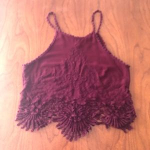 3/$25 Pacsun La Hearts Maroon Lace Crop Top